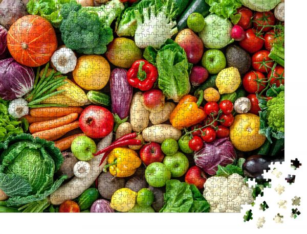 """Puzzle-Motiv """"Sortiment an frischem Obst und Gemüse"""" - Puzzle-Schachtel zu 1000 Teile Puzzle"""