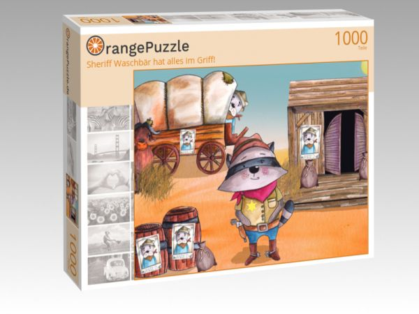 """Puzzle Motiv """"Sheriff Waschbär hat alles im Griff!"""" - Puzzle-Schachtel zu 1000 Teile Puzzle"""