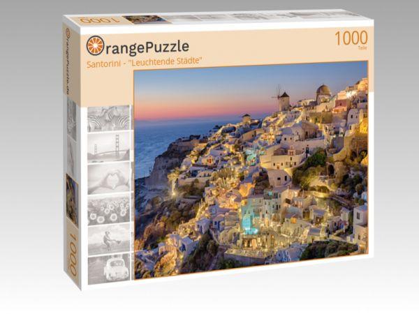 "Puzzle Motiv ""Santorini - ""Leuchtende Städte"""" - Puzzle-Schachtel zu 1000 Teile Puzzle"