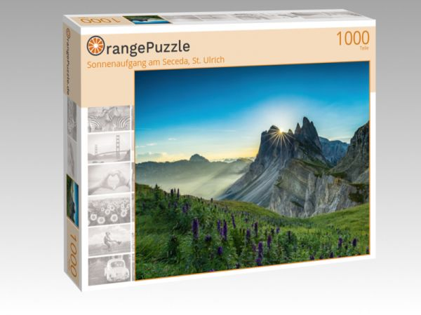 "Puzzle Motiv ""Sonnenaufgang am Seceda, St. Ulrich"" - Puzzle-Schachtel zu 1000 Teile Puzzle"
