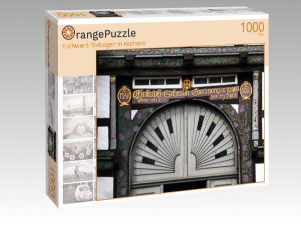 """Puzzle Motiv """"Fachwerk-Torbogen in Nieheim"""" - Puzzle-Schachtel zu 1000 Teile Puzzle"""