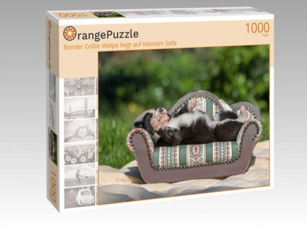 """Puzzle Motiv """"Border Collie Welpe liegt auf kleinem Sofa"""" - Puzzle-Schachtel zu 1000 Teile Puzzle"""