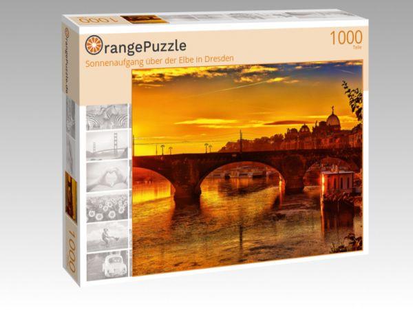 """Puzzle Motiv """"Sonnenaufgang über der Elbe in Dresden"""" - Puzzle-Schachtel zu 1000 Teile Puzzle"""