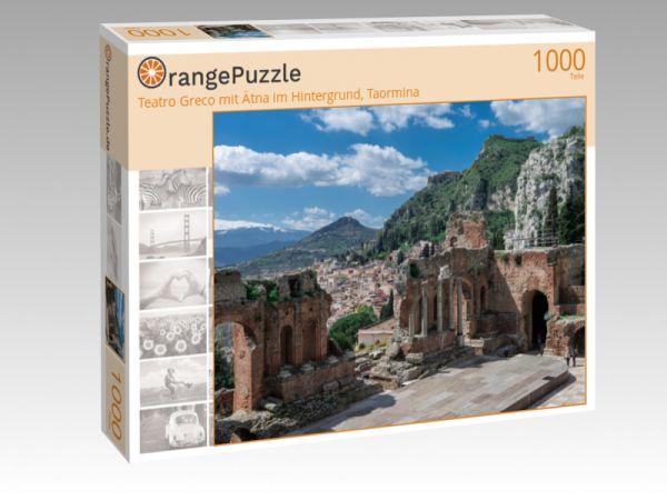 """Puzzle Motiv """"Teatro Greco mit Ätna im Hintergrund, Taormina"""" - Puzzle-Schachtel zu 1000 Teile Puzzle"""