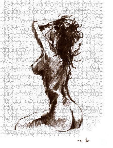 """Puzzle-Motiv """"Die sitzende nackte Frau. Bleistiftskizze"""" - Puzzle-Schachtel zu 1000 Teile Puzzle"""