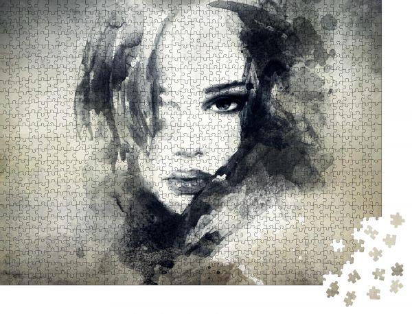 """Puzzle-Motiv """"Frauengesicht. Handbemalte Modezeichnung"""" - Puzzle-Schachtel zu 1000 Teile Puzzle"""