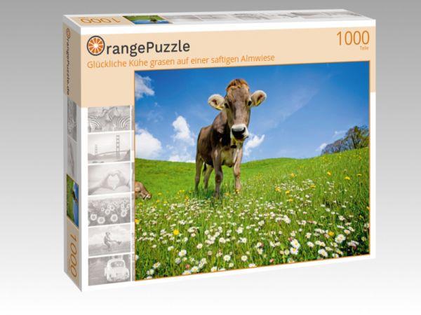 """Puzzle Motiv """"Glückliche Kühe grasen auf einer saftigen Almwiese"""" - Puzzle-Schachtel zu 1000 Teile Puzzle"""