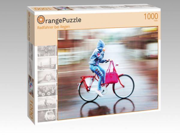 """Puzzle Motiv """"Radfahrer bei Regen"""" - Puzzle-Schachtel zu 1000 Teile Puzzle"""