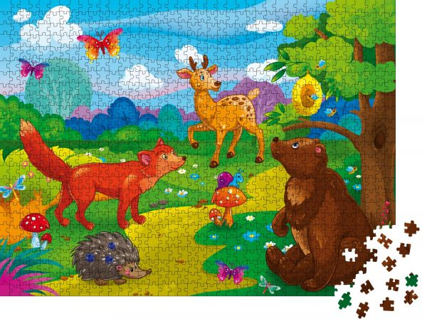 """Puzzle-Motiv """"Kinderillustration im Zeichentrickstil. Tiere gegen die Natur. Spiel. Bildungsplakat für Kinder. Tag"""" - Puzzle-Teile zu 1000 Teile Puzzle"""