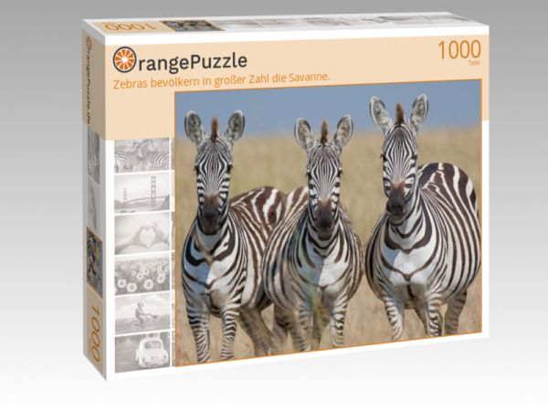 """Puzzle Motiv """"Zebras bevölkern in großer Zahl die Savanne."""" - Puzzle-Schachtel zu 1000 Teile Puzzle"""