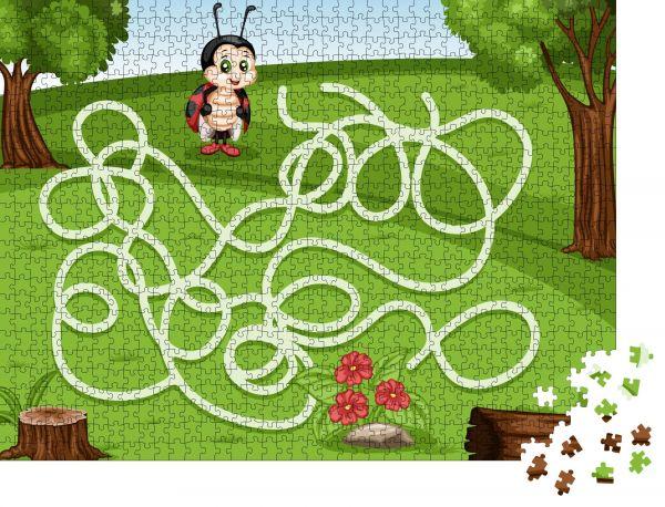 """Puzzle-Motiv """"Labyrinth-Spiel Helfen Sie dem kleinen Marienkäfer zu Reich an Blumen"""" - Puzzle-Teile zu 1000 Teile Puzzle"""