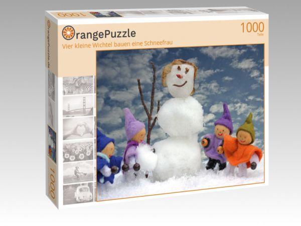 """Puzzle Motiv """"Vier kleine Wichtel bauen eine Schneefrau"""" - Puzzle-Schachtel zu 1000 Teile Puzzle"""