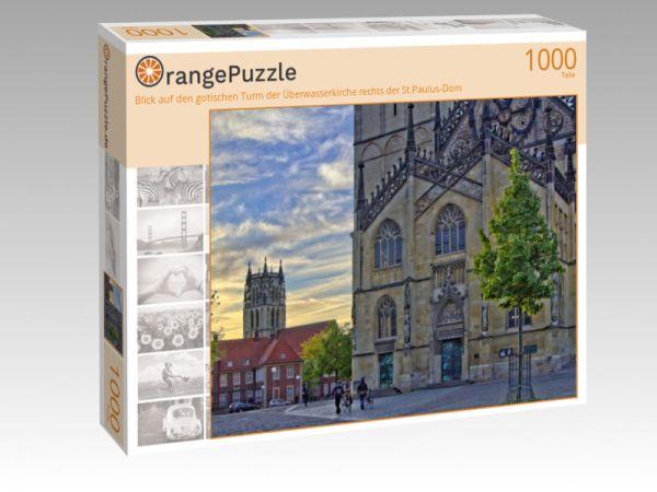 """Puzzle Motiv """"Blick auf den gotischen Turm der Überwasserkirche rechts der St.Paulus-Dom"""" - Puzzle-Schachtel zu 1000 Teile Puzzle"""