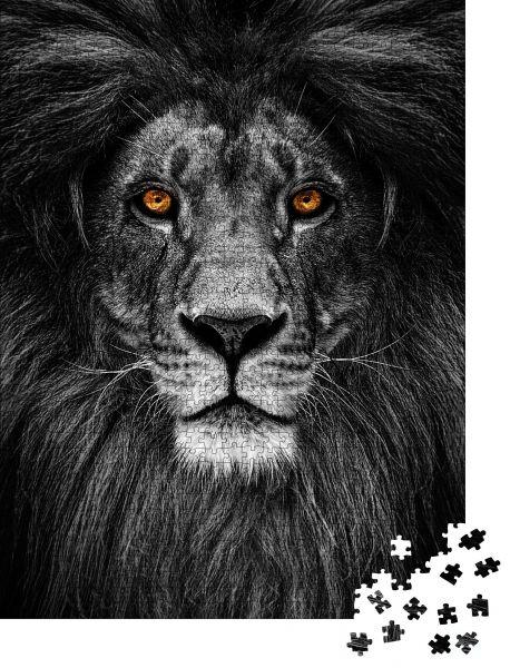 """Puzzle-Motiv """"Porträt eines schönen Löwen, Löwe im Dunkeln"""" - Puzzle-Schachtel zu 1000 Teile Puzzle"""