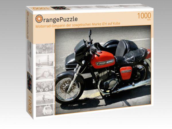 """Puzzle Motiv """"Motorrad-Gespann der sowjetischen Marke IZH auf Kuba"""" - Puzzle-Schachtel zu 1000 Teile Puzzle"""