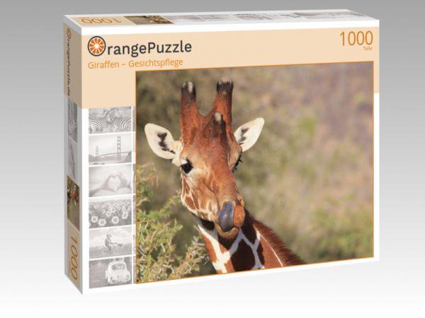 """Puzzle Motiv """"Giraffen – Gesichtspflege"""" - Puzzle-Schachtel zu 1000 Teile Puzzle"""