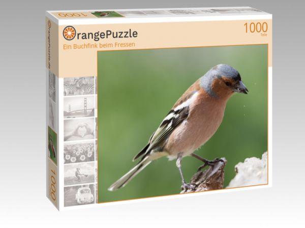 """Puzzle Motiv """"Ein Buchfink beim Fressen"""" - Puzzle-Schachtel zu 1000 Teile Puzzle"""