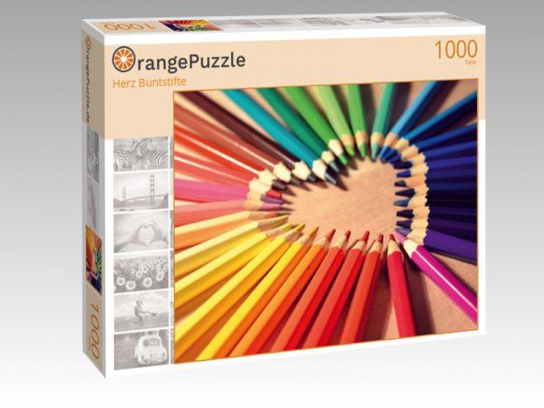 """Puzzle Motiv """"Herz Buntstifte"""" - Puzzle-Schachtel zu 1000 Teile Puzzle"""