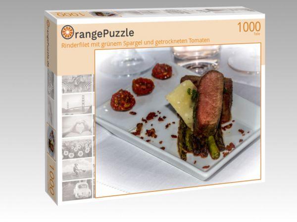 """Puzzle Motiv """"Rinderfilet mit grünem Spargel und getrockneten Tomaten"""" - Puzzle-Schachtel zu 1000 Teile Puzzle"""