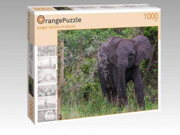 """Puzzle Motiv """"Junger Elefant im Busch"""" - Puzzle-Schachtel zu 1000 Teile Puzzle"""
