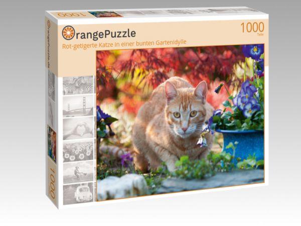 """Puzzle Motiv """"Rot-getigerte Katze in einer bunten Gartenidylle"""" - Puzzle-Schachtel zu 1000 Teile Puzzle"""