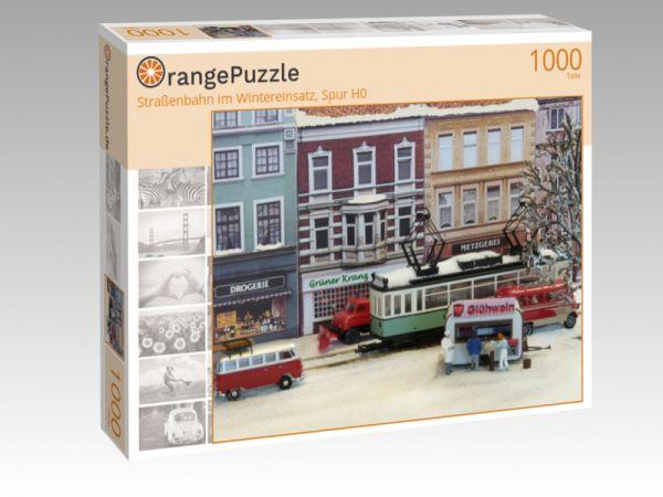 """Puzzle Motiv """"Straßenbahn im Wintereinsatz, Spur H0"""" - Puzzle-Schachtel zu 1000 Teile Puzzle"""