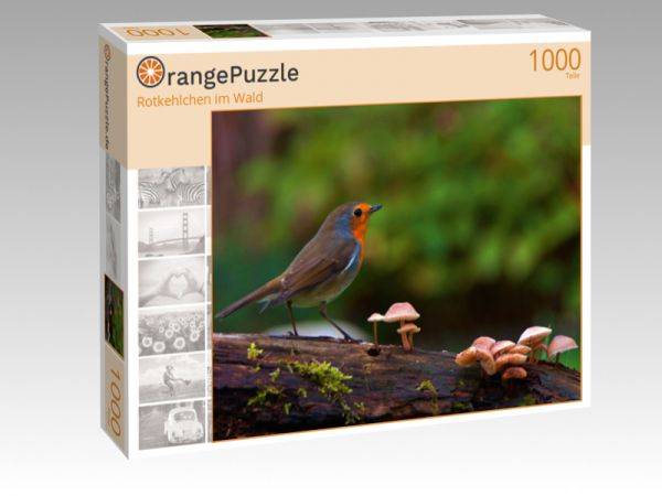 """Puzzle Motiv """"Rotkehlchen im Wald"""" - Puzzle-Schachtel zu 1000 Teile Puzzle"""