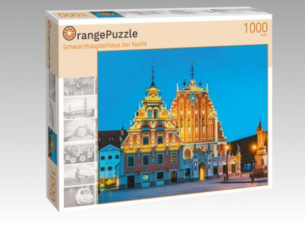"""Puzzle Motiv """"Schwarzhäupterhaus bei Nacht"""" - Puzzle-Schachtel zu 1000 Teile Puzzle"""